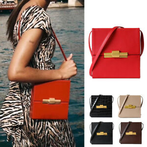 Vintage-Real-Leather-Slim-Boxy-Hinged-Small-Mini-Shoulder-Bag-Crossbody-Purse