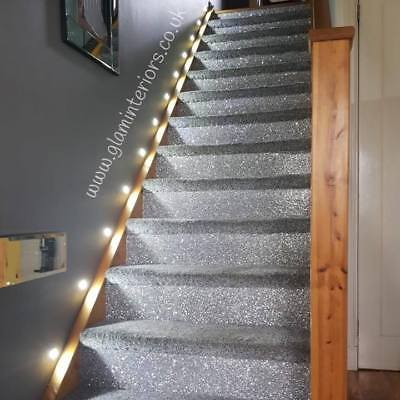 6 Silver Glitter Stairs Fabric Wallpaper Border Ebay
