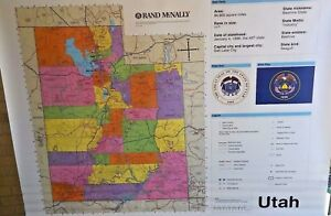 Details about SALE Rand McNally Utah World US Pull-Down School Classroom  Maps Grade 3 4 5 6 7+