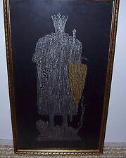 """Vintage Art Brass Rubbing King Robert The Bruce Fife, Scotland 11 x 18"""" Framed"""