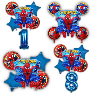 Spiderman-Birthday-Balloons-Party-Decorations-Foil-Bouquet-Avengers-Latex-Number