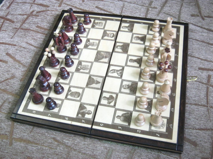 Handcrafted Wooden Marrone chess set board game King size 65 mm Hand made