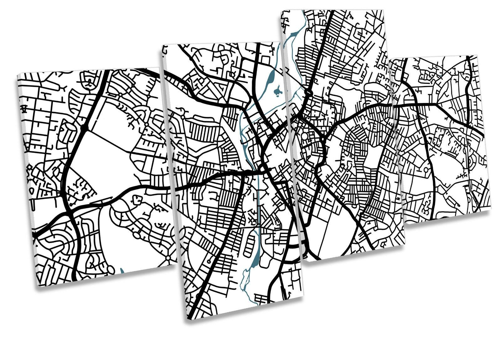 Leciester Map City Minimalistic Modern MULTI CANVAS WALL ART Framed Panel
