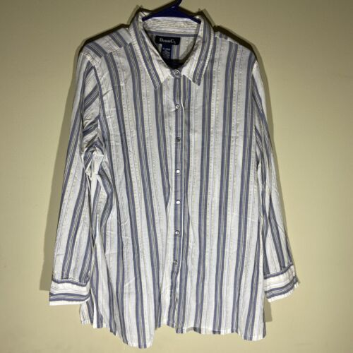 Denim & Co Plaid Pearl Snap XL Shirt Long Sleeves… - image 1