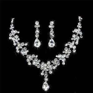 Frauen-Silber-Schmuck-Sets-Hochzeit-Braut-Kristall-Strass-Halskette-Ohrring-Pi