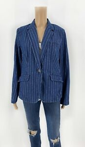 Ralph-Lauren-Jeans-Co-Jacket-Blazer-Blue-Pinstripe-Denim-Size-10-M-H12