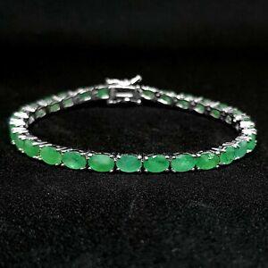 6x4mm-Oval-Natural-Green-Emerald-Gemstone-925-Sterling-Silver-Tennis-Bracelet