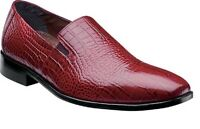 Stacy Adams Mens Shoes Galindo Red Crocodile Print Leather Loafer 24996-600 Sale