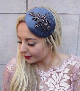 Black Velvet Beaded Fascinator Teardrop Races Funeral Cocktail Headband Hat 4728