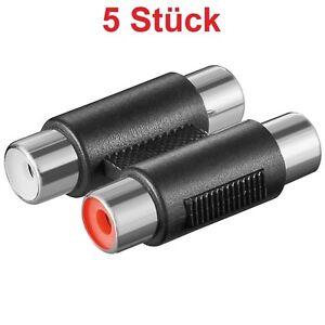 Chinch-Cinch-Cinc-RCA-Kabel-Verbinder-Verbindung-2x-auf-Buchse-Kupplung-weiblich