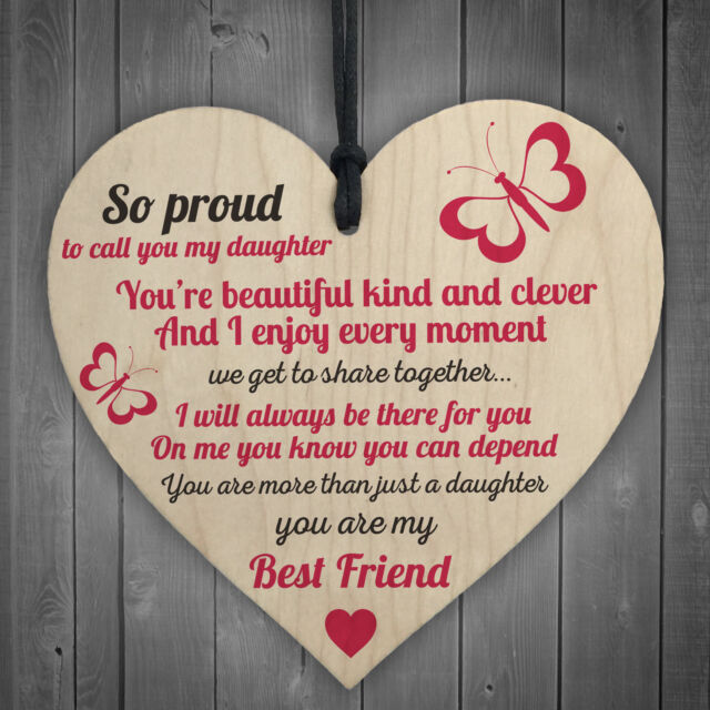 Proud Of My Daughter Wooden Hanging Heart Sign Plaque Daughters Love