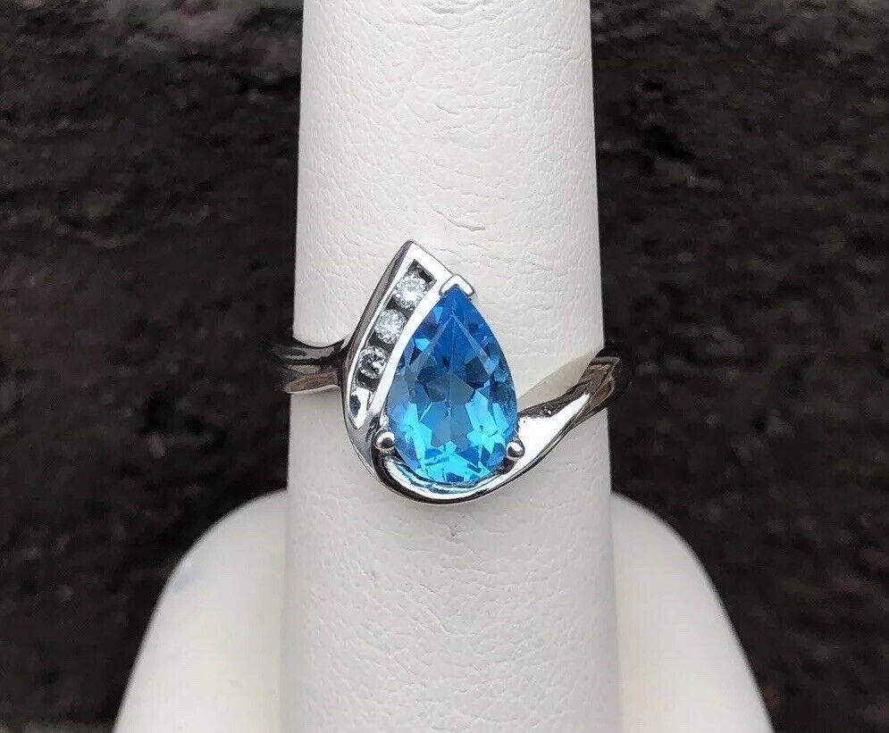 14K WHITE gold blueE TOPAZ DIAMOND LADIES RING SIZE 6.75