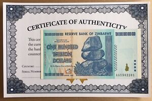 Details About 100 Trillion Dollar Zimbabwe Zim Note Currency 2008 Aa Uv Inspected With Coa