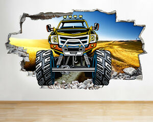 Excellent Details About R313 Monster Truck Kids Bedroom Smashed Wall Decal 3D Art Stickers Vinyl Room Home Interior And Landscaping Ologienasavecom