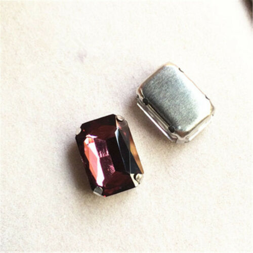 12pcs 25x18mm sew on cabochons glass rhinestone rectangle crystal DIY dress make