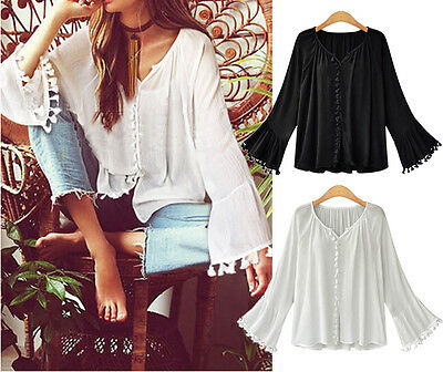 Women's Long Sleeve Casual Cotton V Neck Blouse Loose Tassels Cotton Tops Jumper