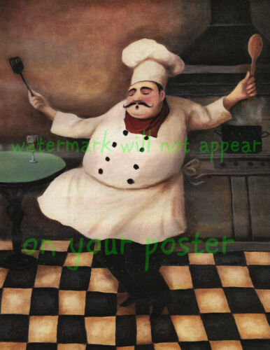Kitchen Art Poster//Print//Fat Chef Dancing//Bistro//Wine// French Cook//16x20 inch