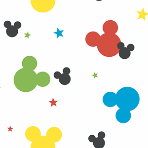 York Disney Mickey Mouse Colorful Heads Logo prepasted Wallpaper rolls DY0208