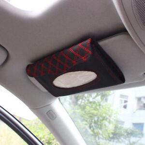 Car Auto Accessory Sun Visor Tissue Paper Holder Clip Black/Red Leather Wallet