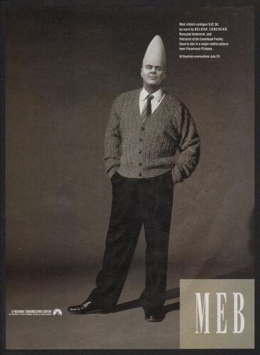 CONEHEADS DAN AYKROYD MEB Ribbed-Cardigan VINTAGE AD 1993 BELDAR CONEHEAD
