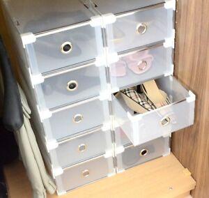 Periea Plastic Stackable Shoe Storage Organiser Drawer Box