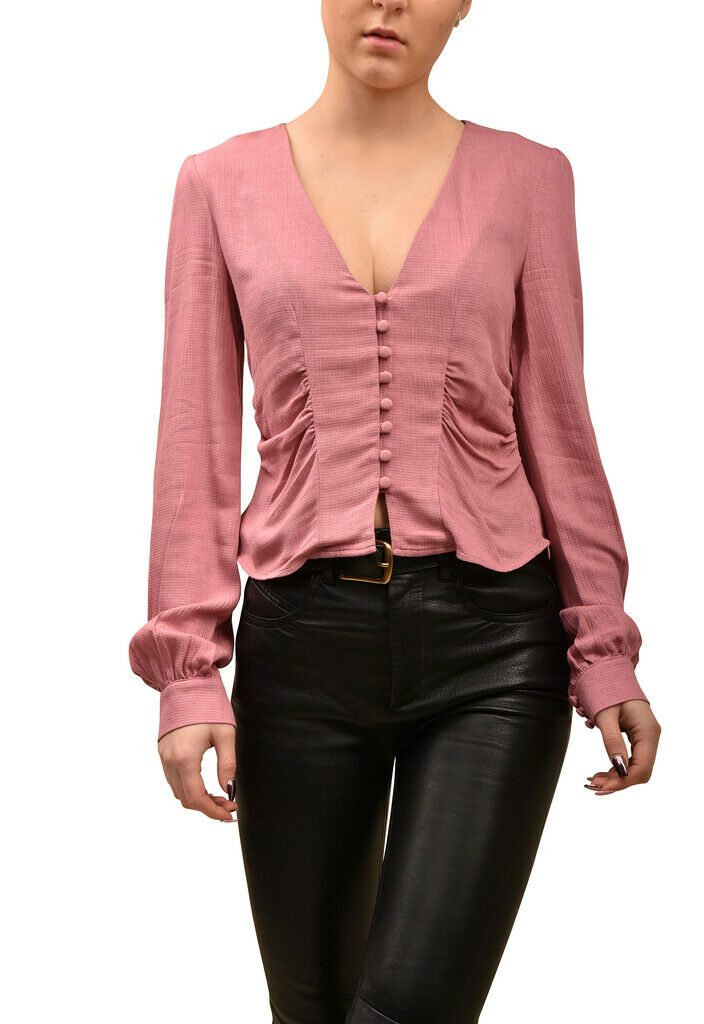 Free People damen V Neck Button Blouse Slim Rosa Twilight Rosa Größe XS