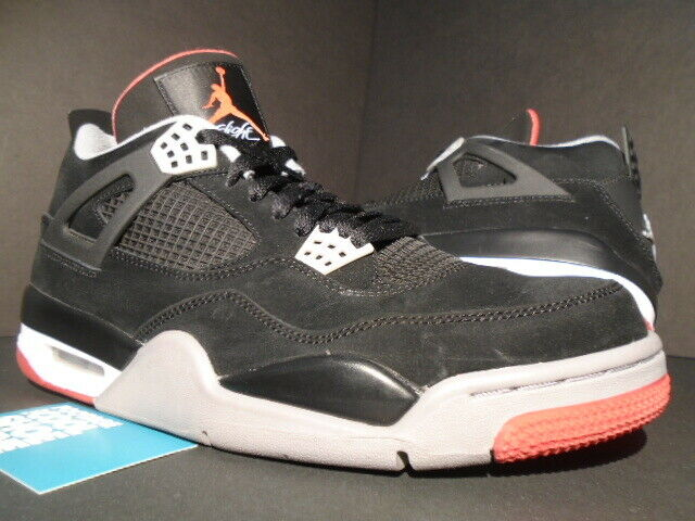 san francisco 2b61b 799fb DS 2012 Nike Air Jordan 4 Retro Bred Black Cement Grey Fire Red Size 10.5  N32 for sale online   eBay