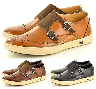 Men's Retro Monk Strap Slip On Formal Casual Loafer Brogue Shoes Uk Sizes 7-11