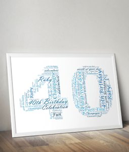 Fortieth Birthday Personalised 40th Birthday Gift Ruby Anniversary Gift