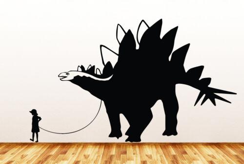"""Pet Dinosaur Stegosaurus w Boy//Girl WALL Vinyl Wall Decal  ©YYDC 36/""""W x 22/""""H"""