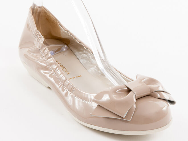 New Donna Serena Coffee Patent Leather Made in Italy Shoes Size 37 US 7
