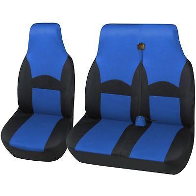 DOUBLE VW VOLKSWAGEN TRANSPORTER T6 DELUXE BLUE PIPING VAN SEAT COVERS SINGLE