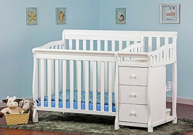 Groovy Convertible Baby Bed 3 In 1 Mini Crib White With Changer Nursery Bedroom Kids Download Free Architecture Designs Jebrpmadebymaigaardcom