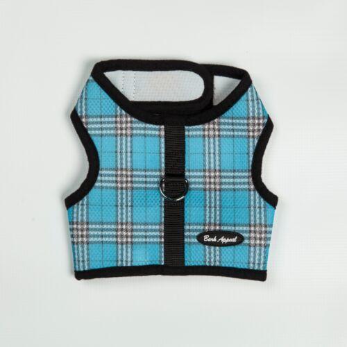 Bark Appeal EZ Wrap n Go Plaid Dog Step In Harness Blue Sizes XS-XL
