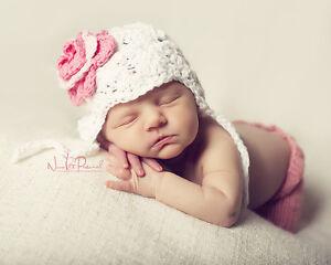 c50832638b5 Hand Crochet Knitted Baby Bonnet Hat Flower Photo Prop Girl Cotton ...