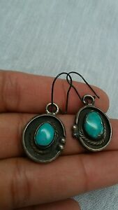 Stunning Native American Navajo sterling 925 turquoise wire earrings