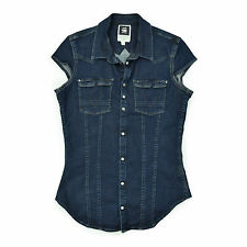 G STAR RAW Damen Jeansweste 3 36 WESTERN Super Slim Woman Top blau Oberteil Hemd