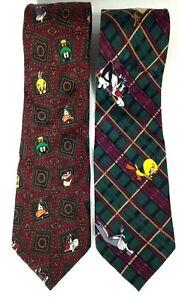 Fun 90s men\u2019s Looney Tunes Taz Fly Fishing necktie