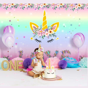 Details About Unicorn Party Backdrop Kids First Birthday Floral Photo Background Decor