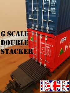 NEW-X-LONG-FLATBED-amp-2-RANDOM-STACKABLE-G-SCALE-SHIPPING-CONTAINERS-45mm-GAUGE