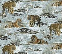 Fleece Snow Tigers Tundra Animal Fleece Fabric Print By The Yard A233.04
