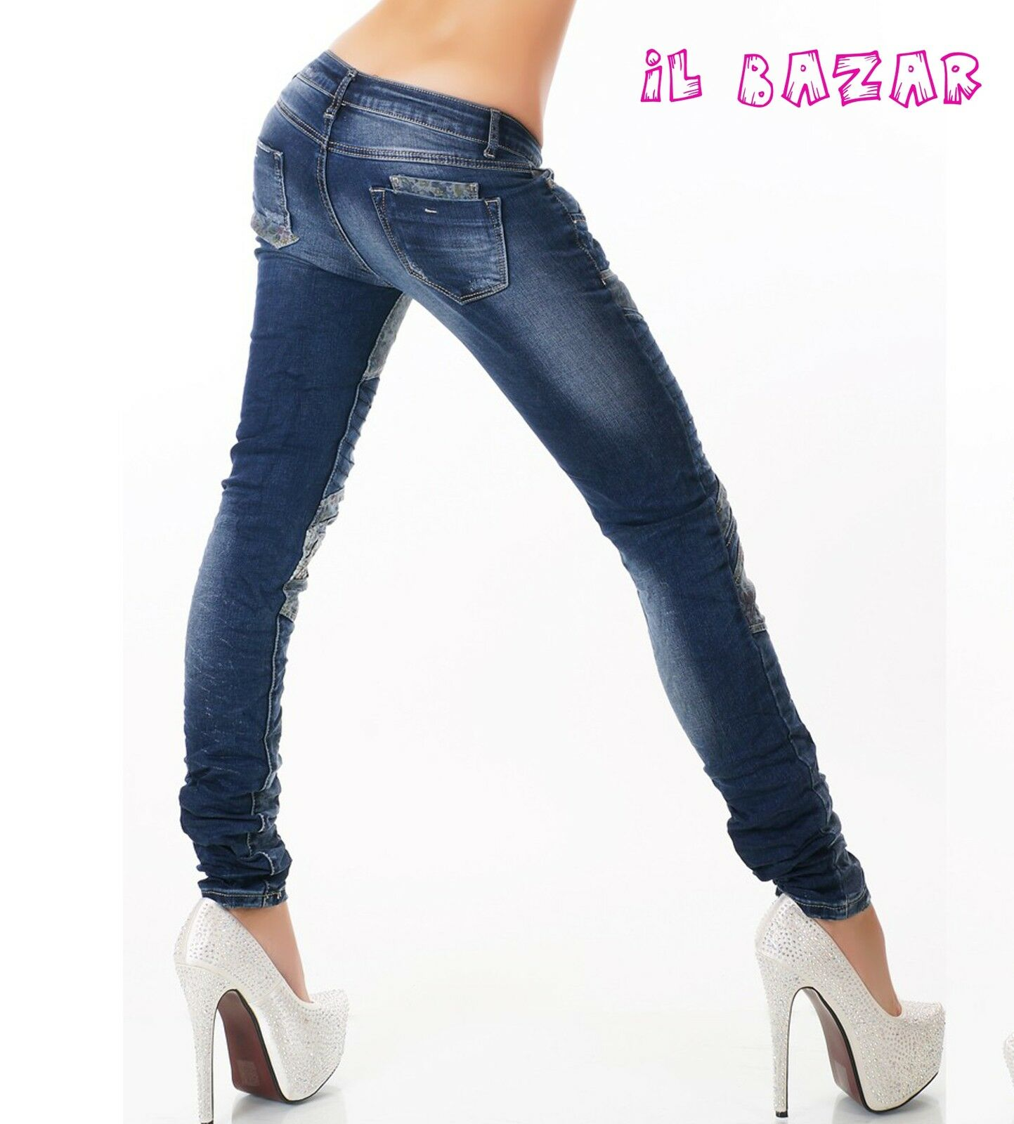 jeans patchwork Skinny Skinny Skinny inserti florealie trapuntati tg XS,S,M,L,XL 670af9