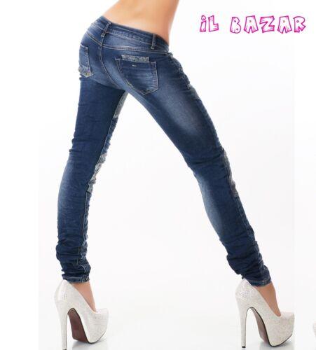 jeans patchwork Skinny inserti florealie trapuntati tg XS,S,M,L,XL