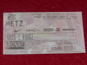 COLLECTION-SPORT-FOOTBALL-TICKET-PSG-METZ-9-DECEMBRE-2000-Champ-France