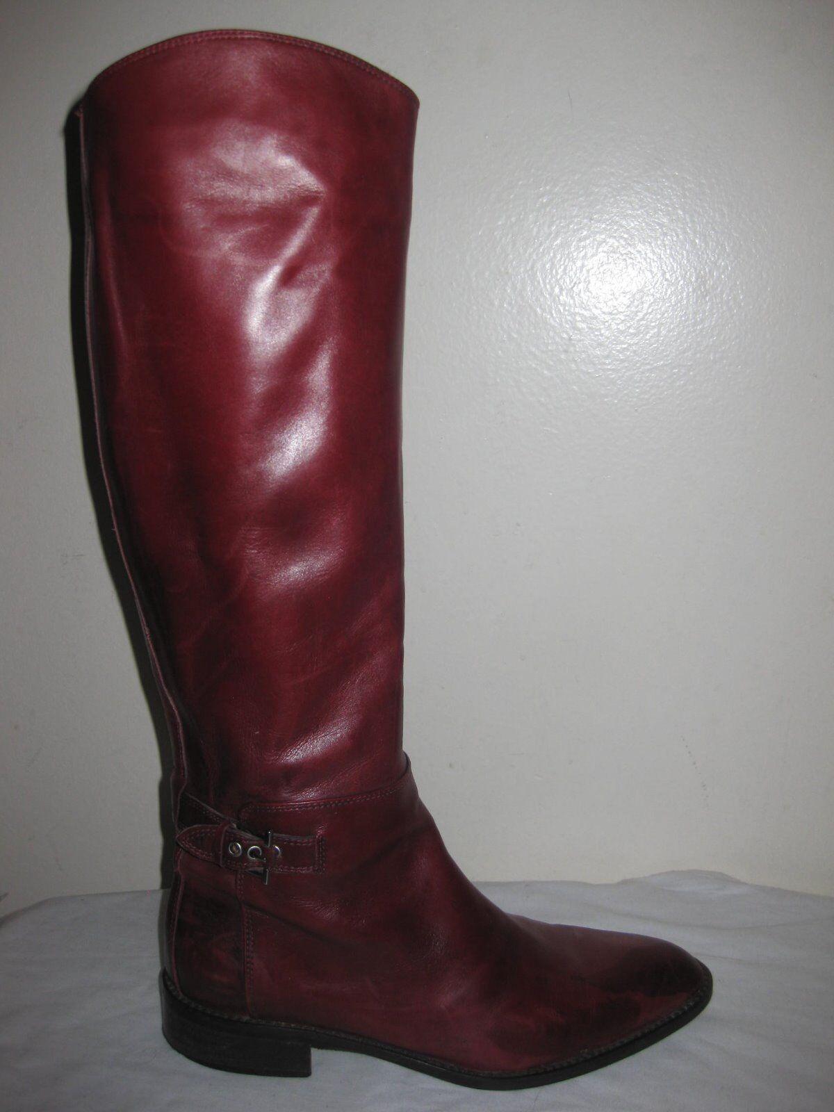 A. TESTONI  Damenschuhe Leder Burgundy Stiefel Schuhes Sz 36.5 / 6, Made In ITALY