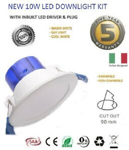 10W-ITALIAN-LED-DOWNLIGHT-KIT-WARM-amp-COOL-WHITE-amp-SATIN-FRAME-DIMMABLE-NON-DIM