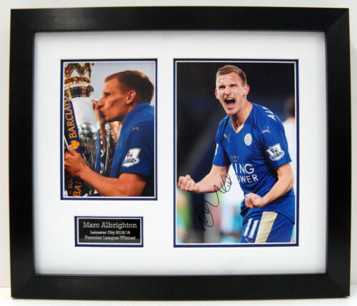 Marc ALBRIGHTON Leicester City Signed Autograph FRAMED 12 x 8 Photo AFTAL COA