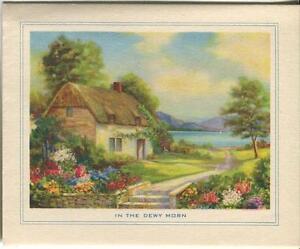 VINTAGE-HEAVENLY-FLOWERS-GARDEN-BOTANICAL-POND-PATH-COTTAGE-CARD-ART-PRINT