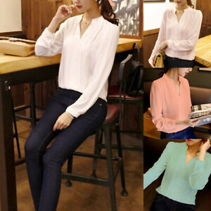 Women-Long-Sleeve-Loose-Chiffon-Blouse-V-Neck-Casual-Lady-Office-T-Shirts-Tops