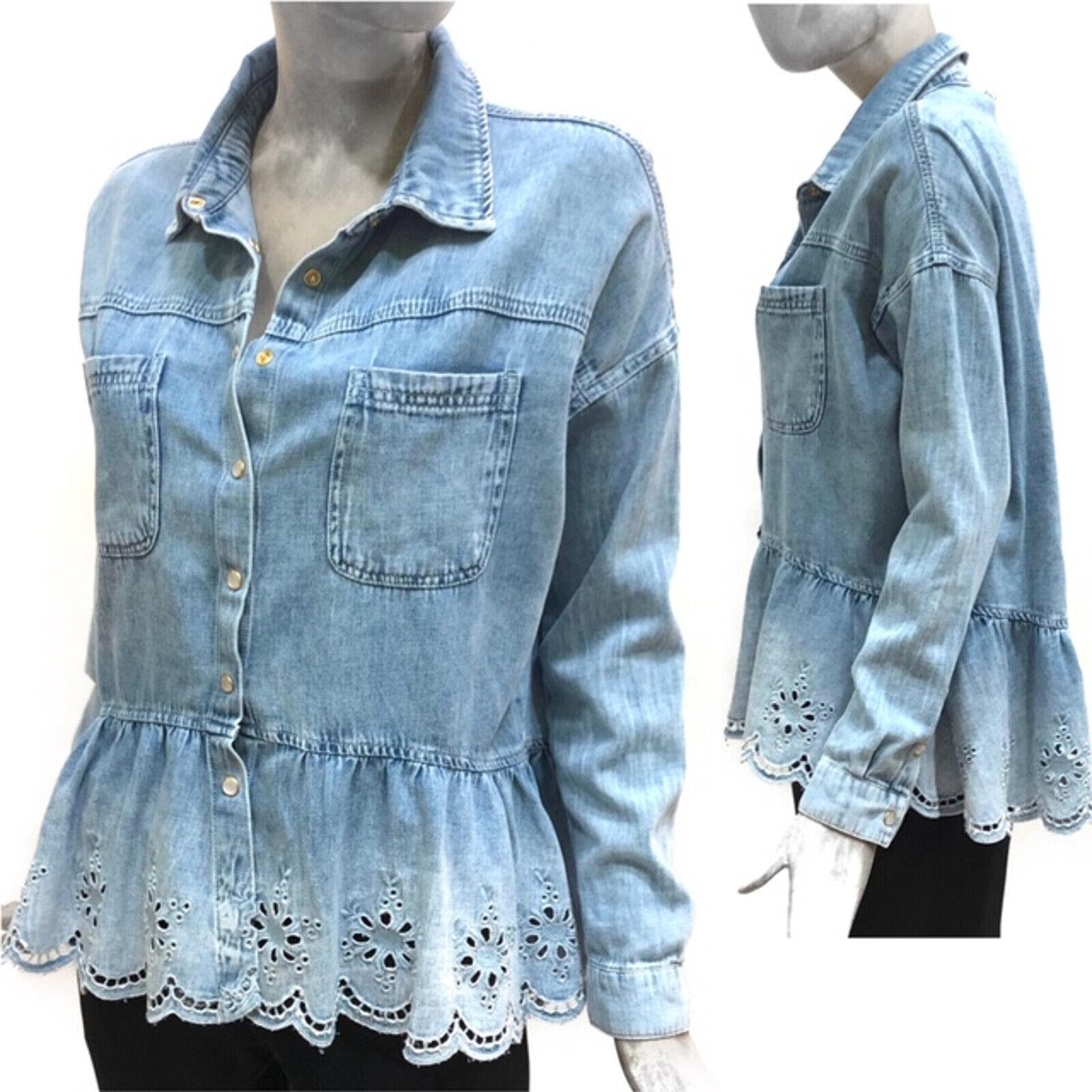 Mytwin Twinset Camicia Blau Denim Shirt Modello Over Manica Lunga T-shirt Maglia
